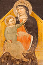 Verona fresco of madonna with the child in basilica san zeno in basilica san zeno from cent january italy Royalty Free Stock Photos