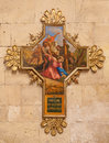 Verona jesus fall under cross cross as part of cross way cycle in basilica san zeno by unknown artist italy january Stock Photography