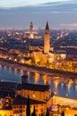 Verona at night sant anastasia church and torre dei lamberti lamberti tower Royalty Free Stock Photo