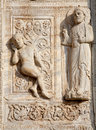 Verona - Relief of creation of Adam - San Zeno Stock Photo