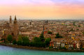 Verona veiw view of buildings sunset river Royalty Free Stock Photo
