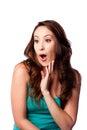 Verraste verbaasde jonge vrouw Stock Foto's