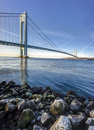 Verrazano–narrows bridge in the u s state of new york is a double decked suspension that connects the boroughs of staten Stock Image