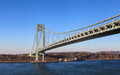 The verrazano narrows bridge is a cable stayed spanning and connecting new york city boroughs of staten Stock Image