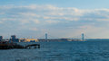 Verrazano narrows bridge in the harbor of new york city Royalty Free Stock Images