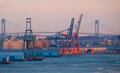Verrazano narrows bridge in the harbor of new york city Stock Photo