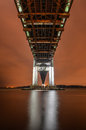 Verrazano narrows bridge at night from brooklyn the a double decked suspension that connects the boroughs of staten Royalty Free Stock Photo