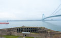 Verrazano narrows bridge view of the and fort wadsworth Royalty Free Stock Image
