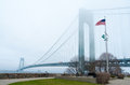 Verrazano narrows bridge view of the and fort wadsworth Royalty Free Stock Photos