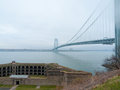 Verrazano narrows bridge view of the and fort wadsworth Royalty Free Stock Images