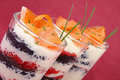 Verrine, glass of caviar and salmon Stock Photo