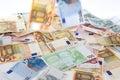 Verschiedene Eurobanknoten Stockfotos