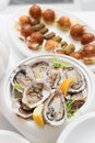 Verse oesters en snacks Royalty-vrije Stock Foto
