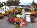 Quintessential New England Roadside Farm Stand Sells Pumpkins in Autumn Royalty Free Stock Photo
