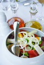 Version of greek salad (with eggs) Stock Photo