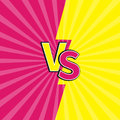 Versus letters or VS battle fight competition. Cute cartoon style. Pink yellow background template. Sunburst with ray of light. St