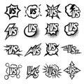 Versus vector logo set. Argue fight symbols in cartoon comic style