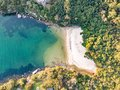 Vertical aerial drone view of Collins Flat Beach, part of Sydney Harbour National Park. Royalty Free Stock Photo