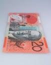 Vertical Australian Twenty Dollar Banknote Royalty Free Stock Photo