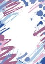 Vertical backdrop with colorful paint stains, blots and brush strokes on white background. Beautiful artistic decorative