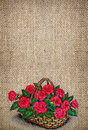 Vertical background with embroidered basket of roses Royalty Free Stock Photo