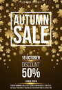 Vertical background, poster for advertising autumn sale. Coupons and discounts. White banner with text. Golden maple leaves. Glare