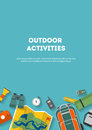 Vertical banner camping and tourism on an outdoor flat