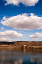 Vertical banner columbia river crossing mountains blue sky clouds i crosses the mighty on a beautiful day near vantage wa Royalty Free Stock Photo