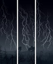 Vertical banner of lightning at night vector thunderstorm in dark over forest Royalty Free Stock Photos