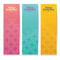 Vertical Banner Set Of Three Vintage Graphic Theme. Royalty Free Stock Photo