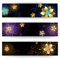 Vertical banners with abstract flowers three banner decorated gold and silver blue brown and light background Stock Photography
