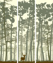 Vertical banners of deer in coniferous wood abstract wild forest with trunks pine trees Royalty Free Stock Photos