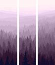 Vertical banners of hills coniferous wood. Royalty Free Stock Photos