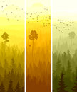 Vertical banners of hills coniferous wood abstract with folk birds in yellow and orange tone Royalty Free Stock Photos