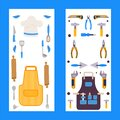Vertical banners with isolated icons of kitchen apron and repair tools vector illustration Royalty Free Stock Photo