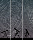 Vertical banners of stars trace circles set abstract on the sky with telescopes Stock Photo
