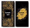 Vertical Black and Gold Banners Set, Greeting Card Design. Golden Dust. Vector Illustration. Happy New Year and Royalty Free Stock Photo