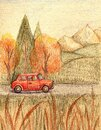 Vertical card posters thanksgiving day isolated autumn family holiday tradition. Hand drawing red cute car on a fall road going