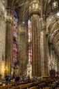 Vertical of Center Nave columns and tile floor inside interior Duomo di Milano