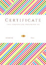 Vertical certificate completion template colorful stripy pattern place text design usable diploma invitation gift voucher coupon Royalty Free Stock Photo