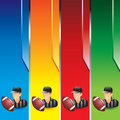 Vertical colored banners with football referee Stock Photography