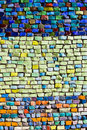 Vertical colorful mosaic texture on wall Stock Photos