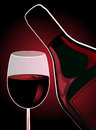 Vertical composition glass red wine bottle wine dark red background Royalty Free Stock Photos