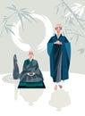 Vertical de zen master e do discípulo Fotos de Stock Royalty Free