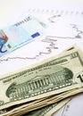 Vertical euro del cambio del Dólar Imagen de archivo
