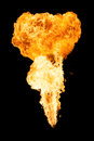 Vertical fireball isolated on a black background Royalty Free Stock Image