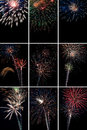 Vertical fireworks collage images Stock Photo