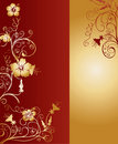 Vertical Gold and Red Pattern Vector Illustration Royalty Free Stock Images