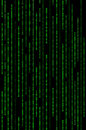 Vertical green binary matrix background code Stock Photo