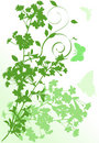 Vertical green cherry tree flowers illustration Royalty Free Stock Photo